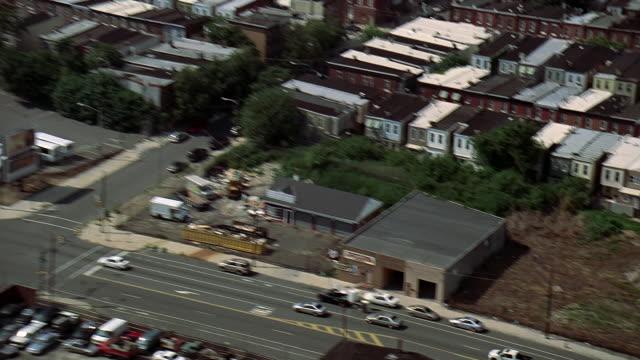 aerial philadelphia streets and industrial skyline / philadelphia, pennsylvania, united states - pennsylvania stock videos & royalty-free footage