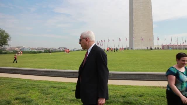 LS Philanthropist David Rubenstein attends the reopening ceremony of the Washington Monument May 12 2014 in Washington DC Mr Rubenstein matched the...