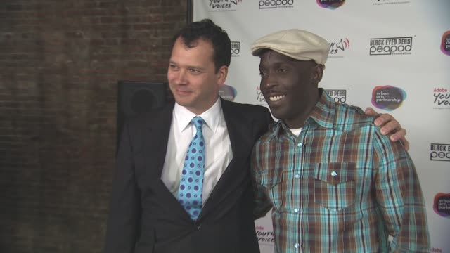 philip courtney and michael k williams at the black eyed peas at the peapod adobe youth voices academy launch at urban arts partnership in new york... - adobe material stock videos and b-roll footage
