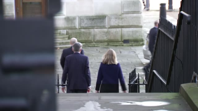Philip Hammond Downing Street departure ENGLAND London Downing Street EXT Philip Hammond MP away from Number 11 as asked question by reporter SOT...