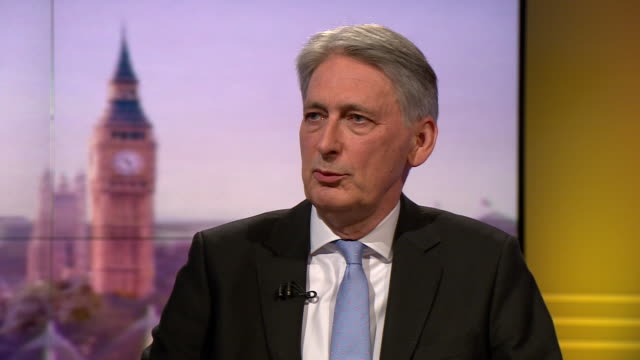 philip hammond saying certain hardbrexit conservative mp's have consistently failed to understand how the eu approach brexit - andrew marr stock videos & royalty-free footage