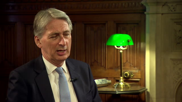 philip hammond talking about the effects the 2008 financial crash had on people but also saying there has been an increase in employment - rezession stock-videos und b-roll-filmmaterial
