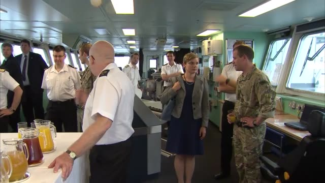 philip hammond visit sky philip hammond mp on deck of naval ship looking out to harbour / hammond on bridge with captain / ext car arriving and... - captain stock videos and b-roll footage