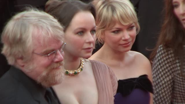 Philip Seymour Hoffman Samantha Morton Michelle Williams and Catherine Keener at the 2008 Cannes Film Festival 'Synecdoche New York' in Cannes on May...