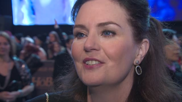 interview philippa boyens on the franchise coming to an end at 'the hobbit the battle of the five armies' world premiere at odeon leicester square on... - franchising stock-videos und b-roll-filmmaterial