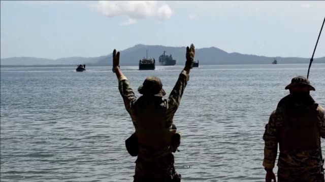 philippine and us soldiers conduct a simulation of a disaster drill as part of the annual joint military exercises - military exercise stock videos and b-roll footage