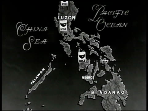 map philippine islands w/ 'rice' bowl icons in luzon islands - luzon stock videos & royalty-free footage