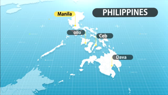 philippine map - filippine video stock e b–roll