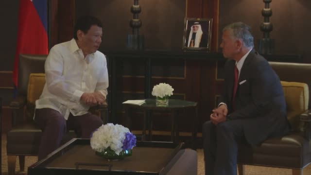 Philippine President Rodrigo Duterte on a visit to Amman meets King Abdullah II of Jordan for talks about the fight against terrorism at the Royal...