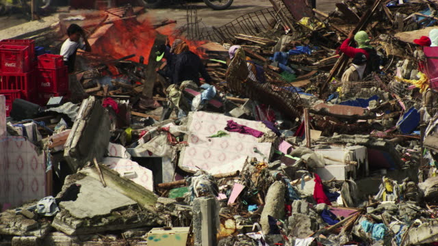 philippines: fire of garbage - typhoon stock videos and b-roll footage