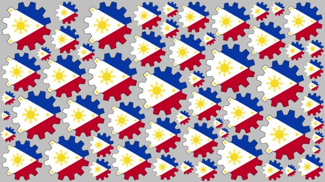 philippines flag gears spinning background - philippines flag stock videos & royalty-free footage