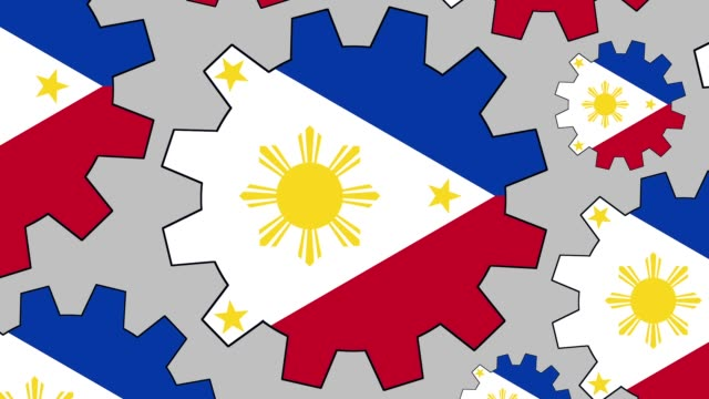 philippines flag gears spinning background zooming out - philippines flag stock videos & royalty-free footage