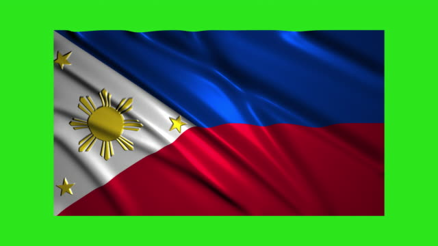 Philippines flag waving,loopable on green screen
