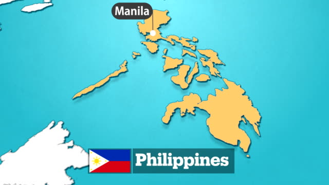 philippines map with flag - philippines flag stock videos & royalty-free footage
