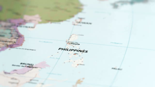 asia philippines on world map - filippine video stock e b–roll