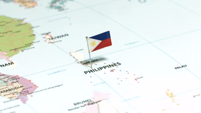 philippines with national flag - filippine video stock e b–roll