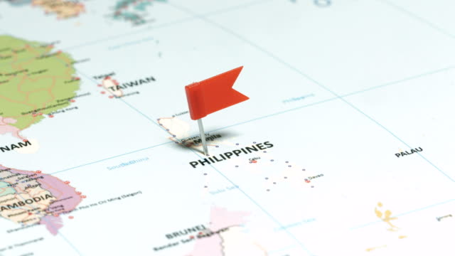 philippines with pin - philippines flag stock videos & royalty-free footage