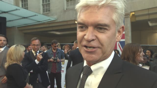 interview phillip schofield on the awards working with holly willoughby again at the daily mirror's pride of britain awards at grosvenor house on... - phillip schofield stock videos & royalty-free footage