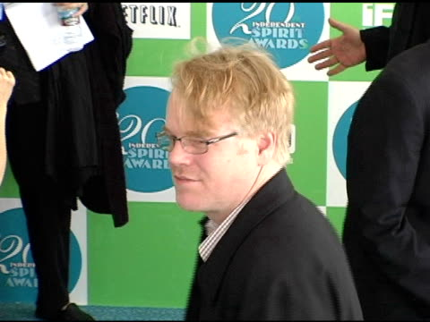 phillips seymour hoffman at the 20th annual independent spirit awards arrivals and interviews at santa monica in santa monica, california on february... - independent feature project video stock e b–roll