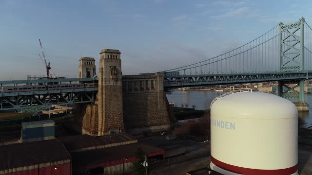 Philly Skyline Morning Ben Franklin Bridge with PATCO Train