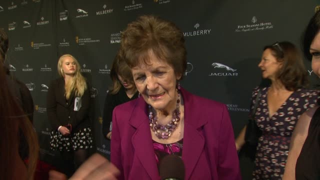 interview philomena lee on being a part of the afternoon her reaction to having her story brought to life on the big screen at bafta la 2014 awards... - bafta la tea party stock videos and b-roll footage