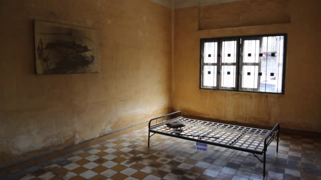 phnom penh, cell in the tuol sleng genocide museum - genocide stock videos & royalty-free footage