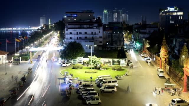 phnom penh city night time lapse - phnom penh stock videos and b-roll footage