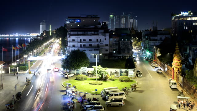 phnom penh city time lapse - cambodia stock videos and b-roll footage