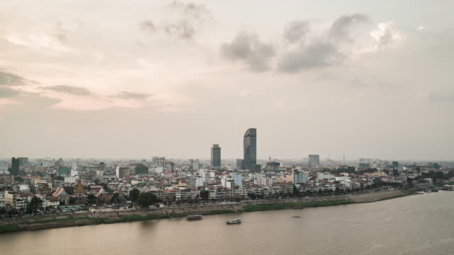 phnom penh skyline at dusk - cambodia stock videos and b-roll footage