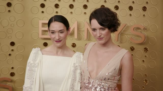 phoebe wallerbridge and sian clifford at the 71st emmy awards arrivals at microsoft theater on september 22 2019 in los angeles california - emmy awards stock videos & royalty-free footage