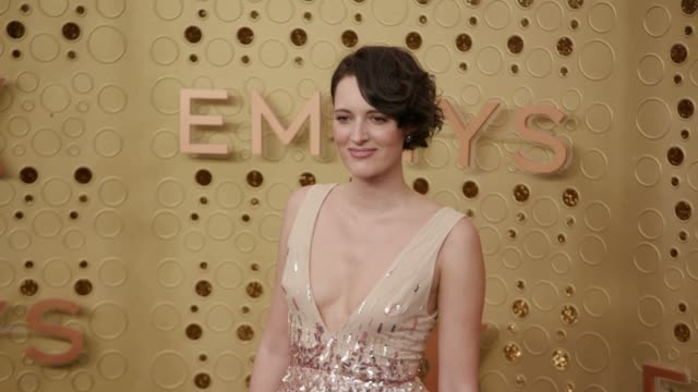 phoebe waller-bridge at the 71st emmy awards - arrivals at microsoft theater on september 22, 2019 in los angeles, california. - emmy awards stock-videos und b-roll-filmmaterial