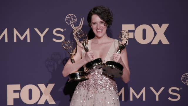 phoebe waller-bridge at the 71st emmy awards - press room at microsoft theater on september 22, 2019 in los angeles, california. - emmy awards stock-videos und b-roll-filmmaterial