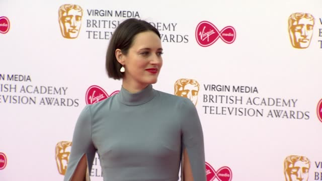 phoebe wallerbridge poses for photos on red carpet at bafta tv awards 2019 at royal festival hall london - british academy television awards stock videos & royalty-free footage