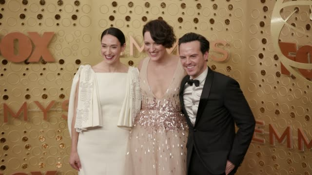 phoebe waller-bridge, sian clifford and andrew scott at the 71st emmy awards - arrivals at microsoft theater on september 22, 2019 in los angeles,... - emmy awards stock videos & royalty-free footage