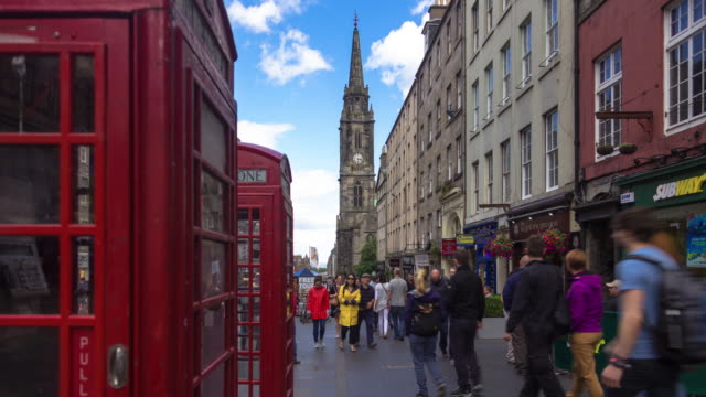 phone boxes on royal mile - time lapse - royal mile stock videos and b-roll footage
