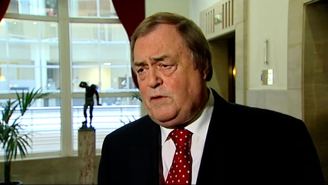 phone hacking scandal: john prescott interview; england: london: millbank: int john prescott interview sot - glad they're continuing investigations /... - letter b stock videos & royalty-free footage