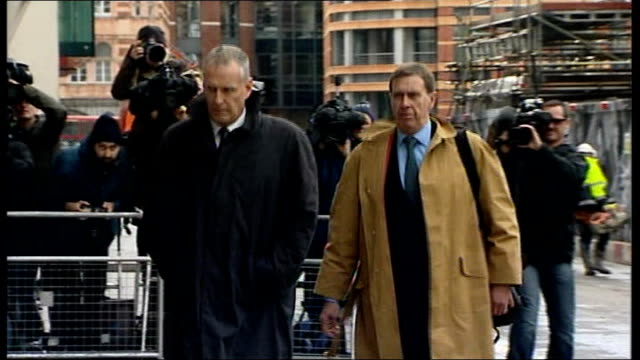 andy coulson found guilty of conspiring to hack phones; file: date unknown: clive goodman arriving at court freeze frame to b/w shot - フリーズフレーム点の映像素材/bロール
