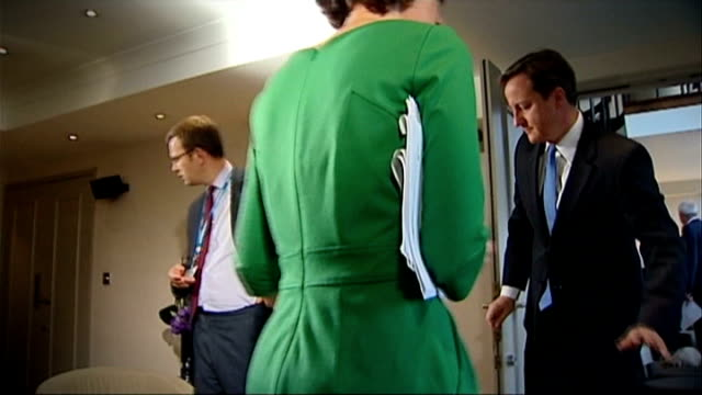 andy coulson sentenced to 18 months; file: october 2010 west midlands: birmingham int slow motion andy coulson in room with david cameron mp as he... - sentencing stock videos & royalty-free footage