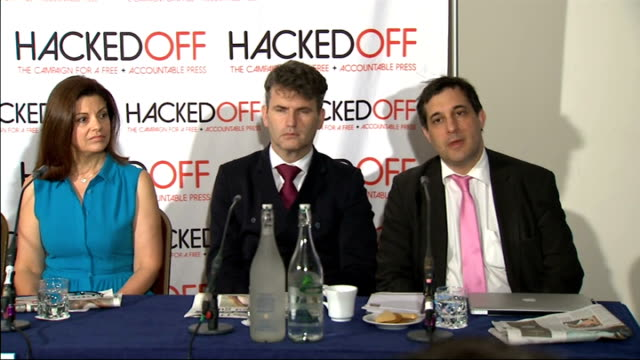 hacked off press conference england london westminster photography** dr evan harris introduces the panel ed blum tom rowland joan smith jackie hames... - conference phone stock videos & royalty-free footage