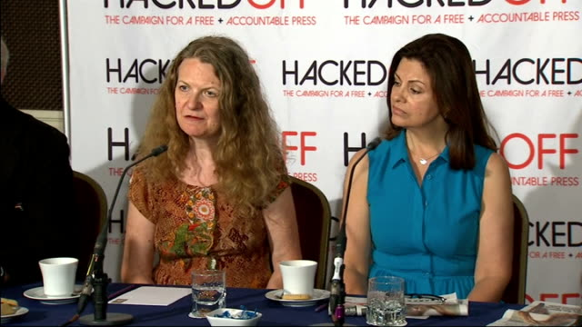 hacked off press conference tom rowland press conference sot harris press conference sot joan smith press conference sot rowland press conference sot... - conference phone stock videos & royalty-free footage