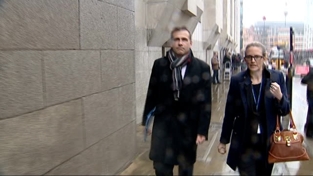 jury hears david blunkett voicemail messages; england: london: old bailey: ext huw evans along and past outside court - david blunkett stock videos & royalty-free footage