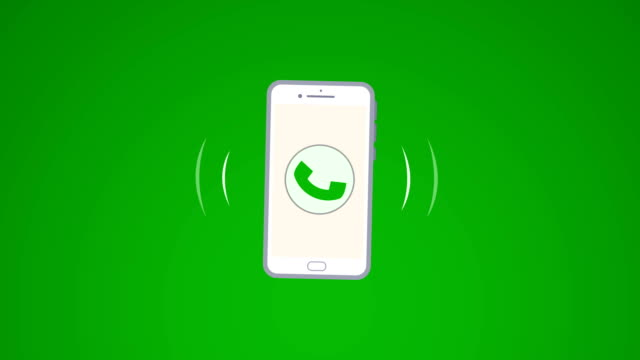 4k phone ring animation. cellphone with moving signal bars(loopable) - landline phone stock videos & royalty-free footage