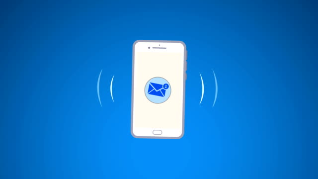 4k phone ring animation. cellphone with moving signal bars(loopable) - message stock videos & royalty-free footage