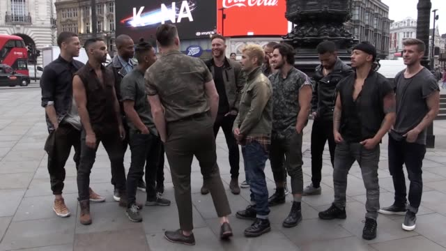 Photo call with Channing Tatum and dancers from his Magic Mike Live show in Piccadilly Circus in front of Eros where for 10 seconds only the neon...