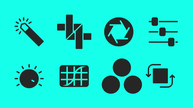 photo editor icons - vector animate - high contrast stock videos & royalty-free footage