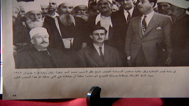 photo of kamal jumblatt in moukhtara with druze spiritual leader, sheikh el akl, sheikh mohammad abou chakra. - 1949 stock videos & royalty-free footage