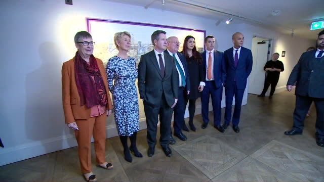 photocall with labour split mp's after press conference where they announced their decision to leave the party and form the independent group /... - parlamentsmitglied stock-videos und b-roll-filmmaterial