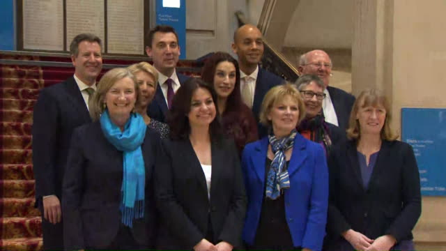 photocall with the eleven labour and conservative mp's who have defected from their respective parties to form the independent group / change uk - mp stock videos & royalty-free footage