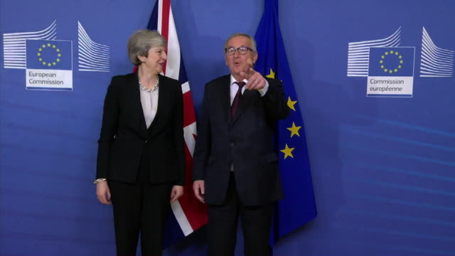 Photocall with Theresa May JeanClaude Juncker at European Commission in Brussels on day 3 conservative MP's defected from the party