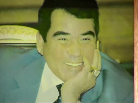 photograph of former turkmen president saparmurat niyazov, ashghabad, turkmenistan, audio - male likeness stock videos & royalty-free footage